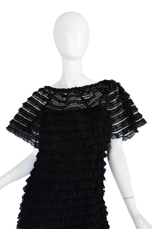 1960s Black Lace & Net Simonetta Sheath Dress & Cape For Sale 2