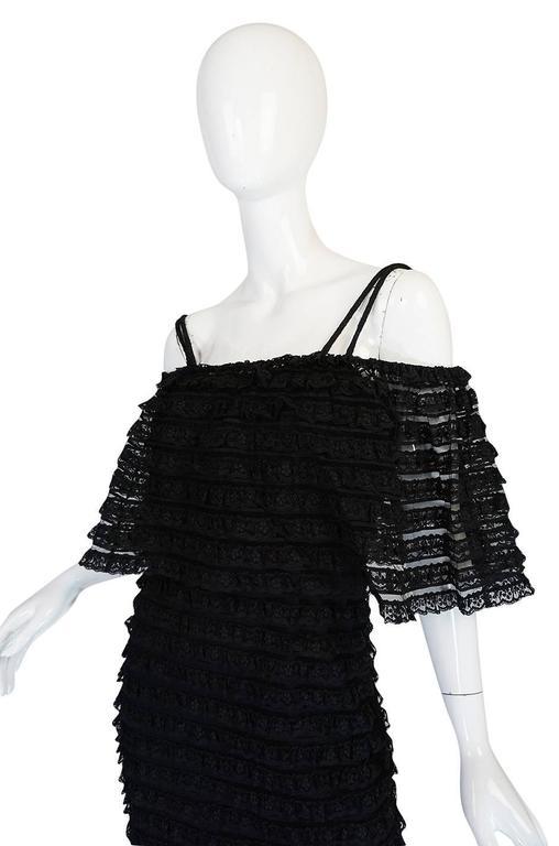 1960s Black Lace & Net Simonetta Sheath Dress & Cape For Sale 3