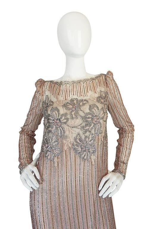 1980s Fernando Pena Gold & Pink Bead Sequin & Net Dress In Excellent Condition For Sale In Toronto, CA