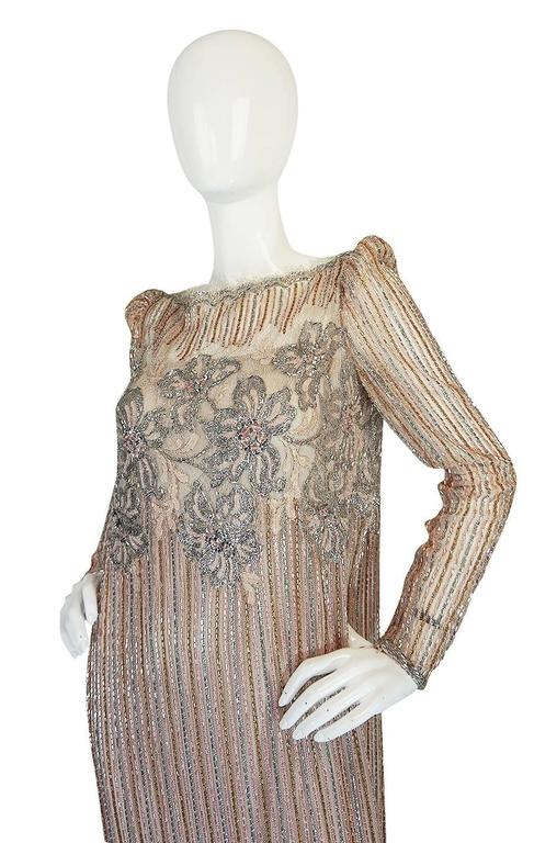 Women's 1980s Fernando Pena Gold & Pink Bead Sequin & Net Dress For Sale
