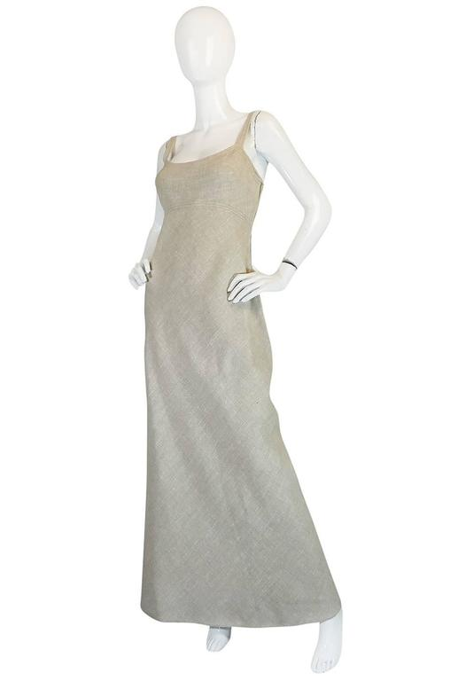 Late 1970s Pauline Trigere Heavy Linen Sculptural Dress 3