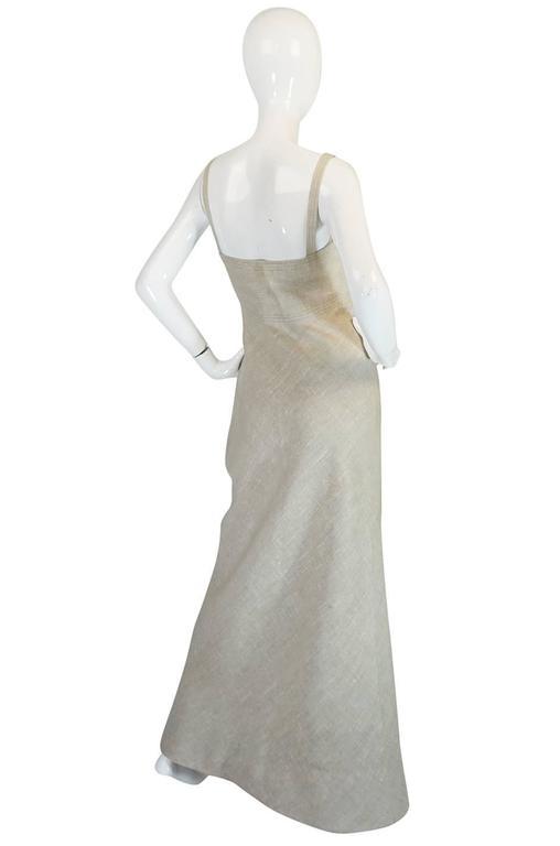 Late 1970s Pauline Trigere Heavy Linen Sculptural Dress 2