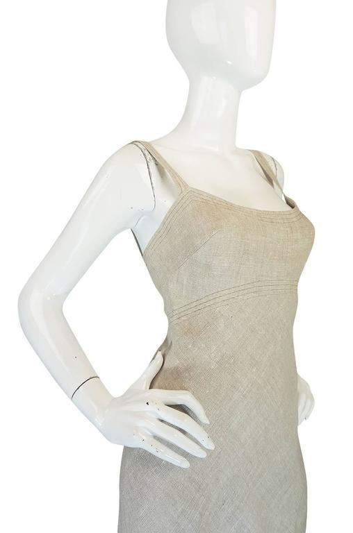 Late 1970s Pauline Trigere Heavy Linen Sculptural Dress 5