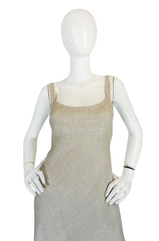 Late 1970s Pauline Trigere Heavy Linen Sculptural Dress 4