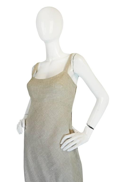 Late 1970s Pauline Trigere Heavy Linen Sculptural Dress 6