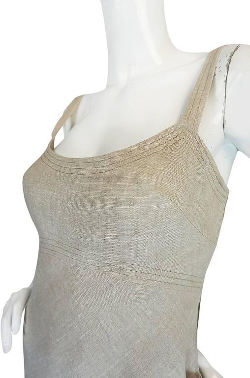 Late 1970s Pauline Trigere Heavy Linen Sculptural Dress 7
