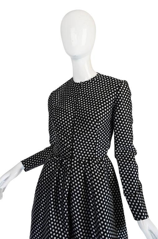 c1972 Geoffrey Beene Silk Black & White Dot Dress 6