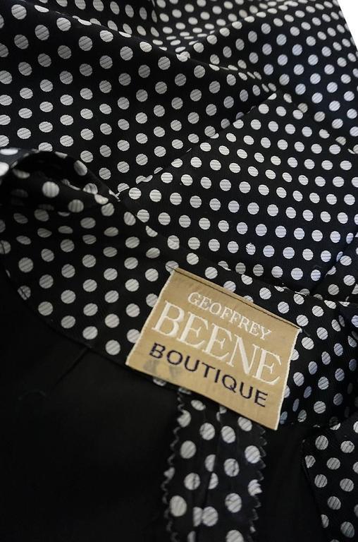 c1972 Geoffrey Beene Silk Black & White Dot Dress 9