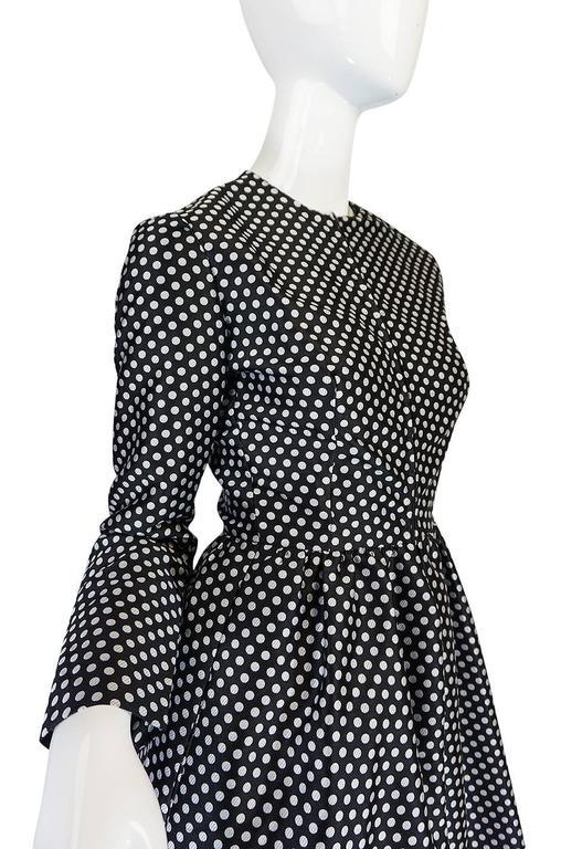 c1972 Geoffrey Beene Silk Black & White Dot Dress 7