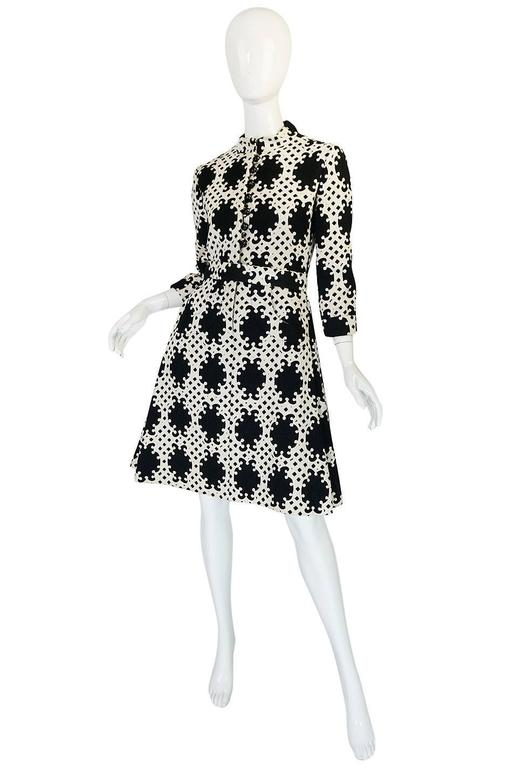 1960s Donald Brooks Graphic Black & White Quilted Dress 3
