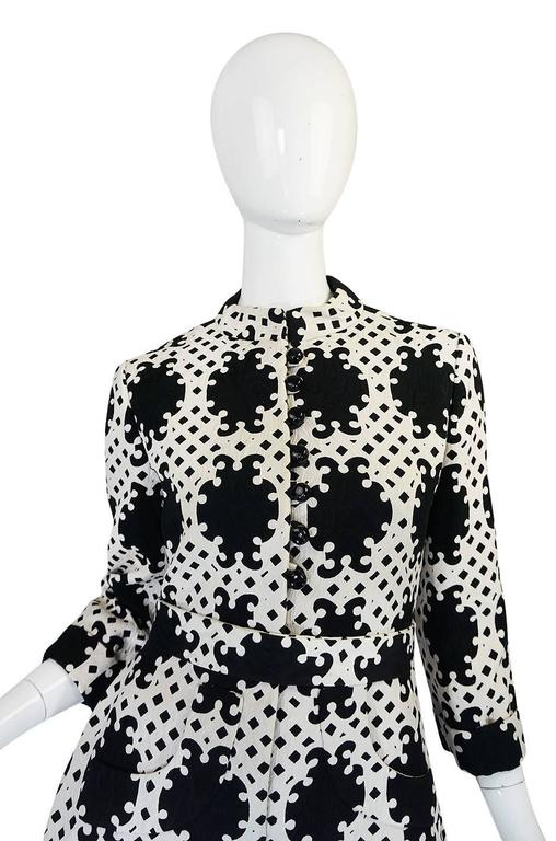 1960s Donald Brooks Graphic Black & White Quilted Dress 6