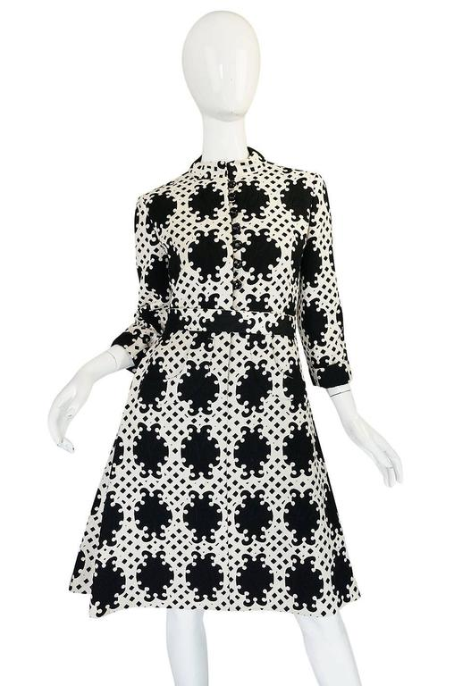 1960s Donald Brooks Graphic Black & White Quilted Dress 4