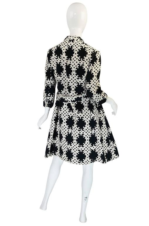 1960s Donald Brooks Graphic Black & White Quilted Dress 2