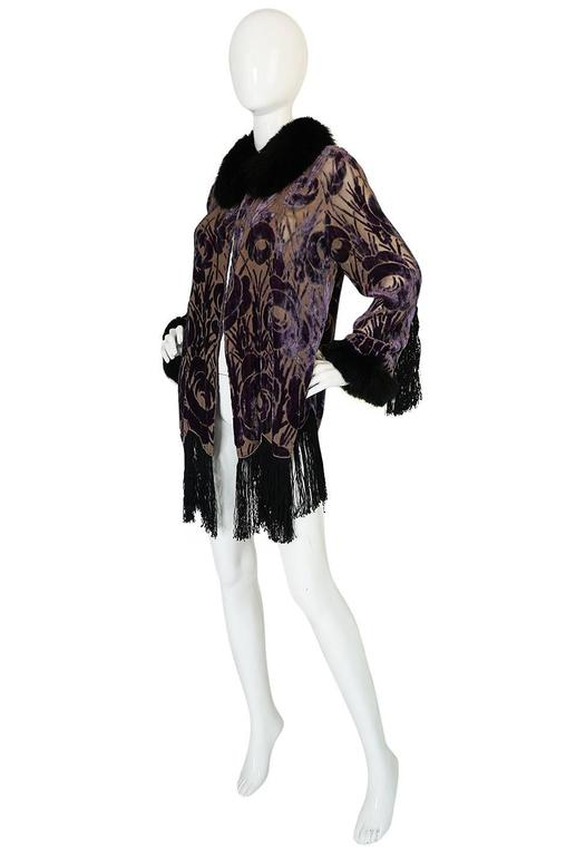Black Beautiful 1920s Voided Velvet, Fur & Silk Fringe Jacket For Sale