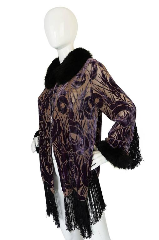 Beautiful 1920s Voided Velvet, Fur & Silk Fringe Jacket For Sale 1
