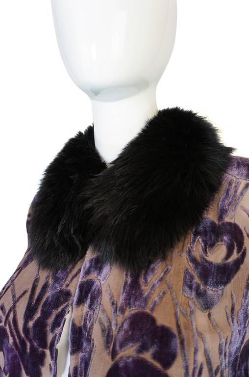 Beautiful 1920s Voided Velvet, Fur & Silk Fringe Jacket For Sale 2