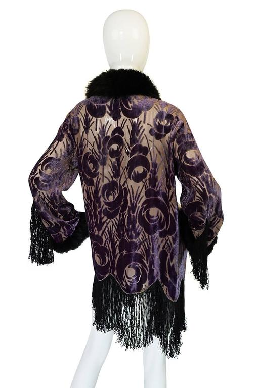 Women's Beautiful 1920s Voided Velvet, Fur & Silk Fringe Jacket For Sale