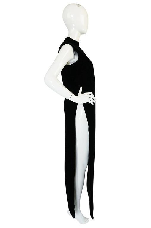"""1960s Couture Pierre Cardin Black Velvet """"Tabard"""" Dress 4"""