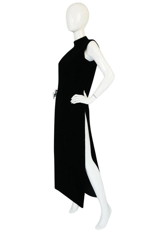 """1960s Couture Pierre Cardin Black Velvet """"Tabard"""" Dress 3"""