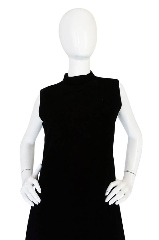 """1960s Couture Pierre Cardin Black Velvet """"Tabard"""" Dress 5"""