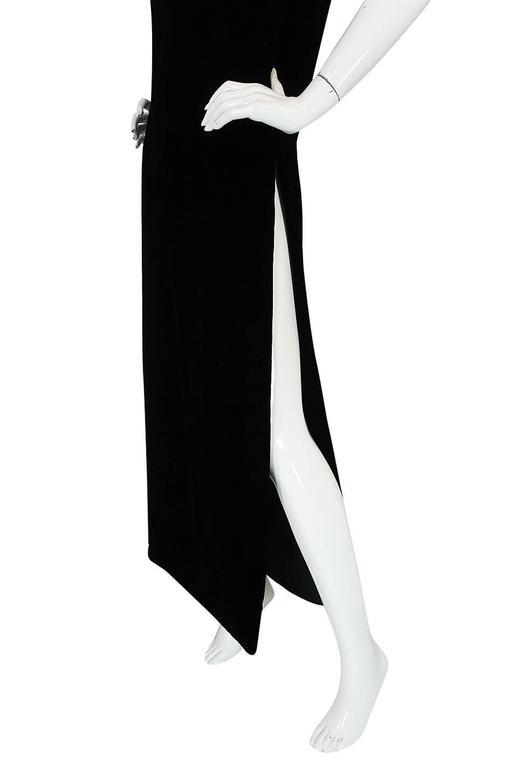 """1960s Couture Pierre Cardin Black Velvet """"Tabard"""" Dress 6"""