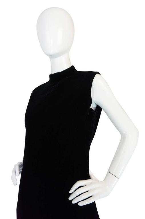 """1960s Couture Pierre Cardin Black Velvet """"Tabard"""" Dress 7"""