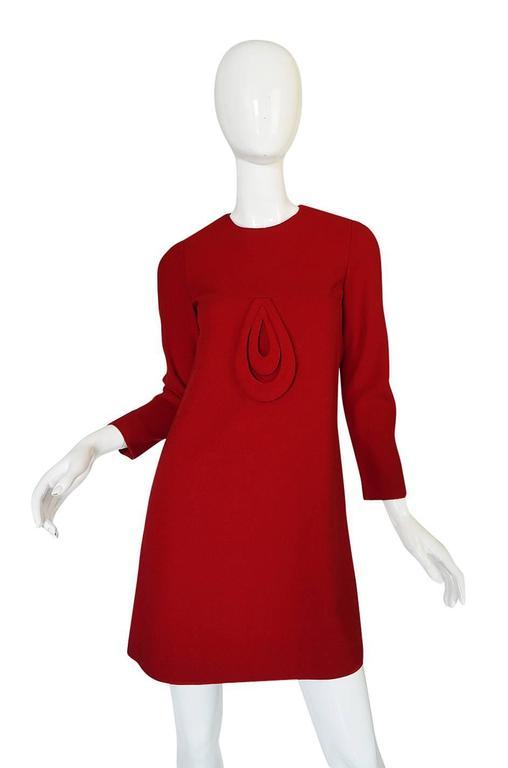 1960s Pierre Cardin for Takashimaya Red Loop Dress 4