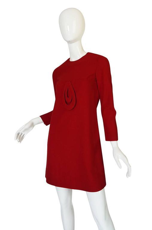 1960s Pierre Cardin for Takashimaya Red Loop Dress 5