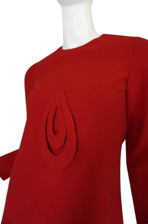 1960s Pierre Cardin for Takashimaya Red Loop Dress 8