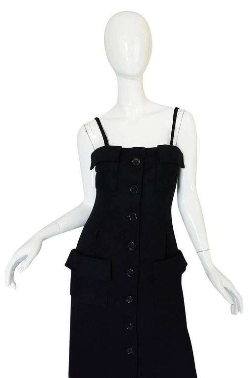 1960s Geoffrey Beene Button Front Black Boutique Dress For Sale 1