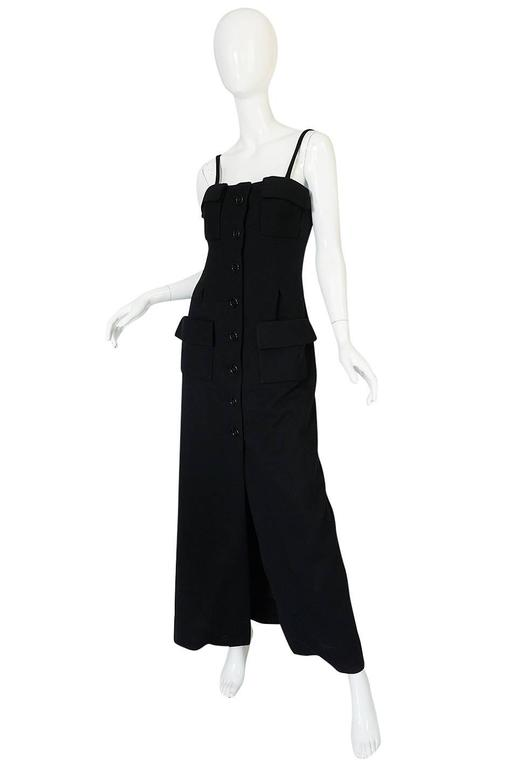 1960s Geoffrey Beene Button Front Black Boutique Dress In Excellent Condition For Sale In Toronto, ON