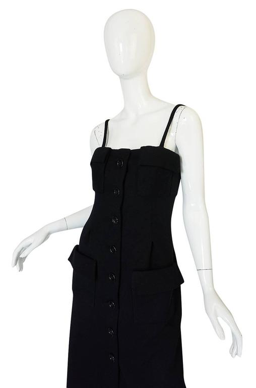 Women's 1960s Geoffrey Beene Button Front Black Boutique Dress For Sale