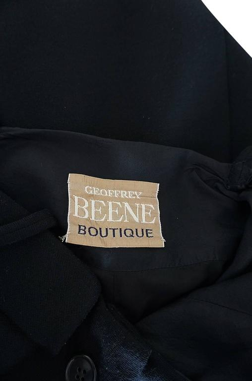 1960s Geoffrey Beene Button Front Black Boutique Dress For Sale 4