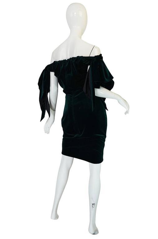 Dramatic 1980s Antony Price Bottle Green Velvet Dress 2