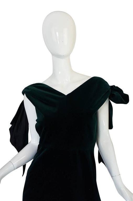 Dramatic 1980s Antony Price Bottle Green Velvet Dress 6