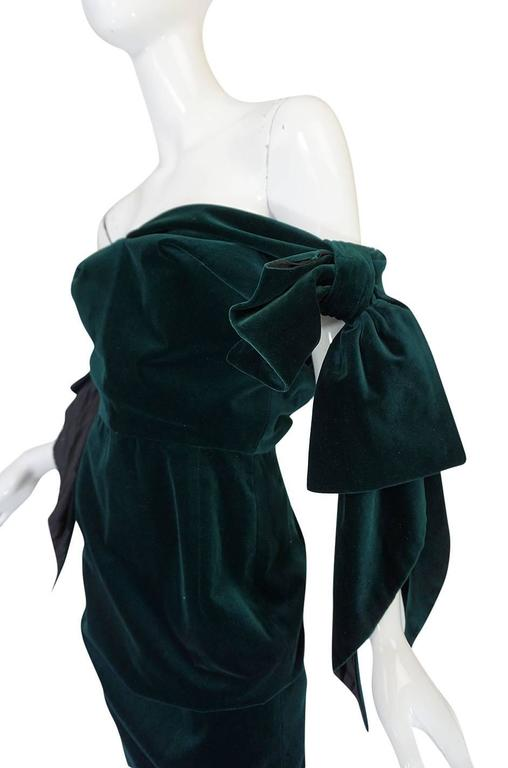 Dramatic 1980s Antony Price Bottle Green Velvet Dress 7