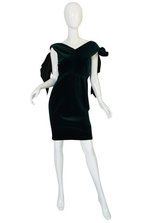 Dramatic 1980s Antony Price Bottle Green Velvet Dress 3
