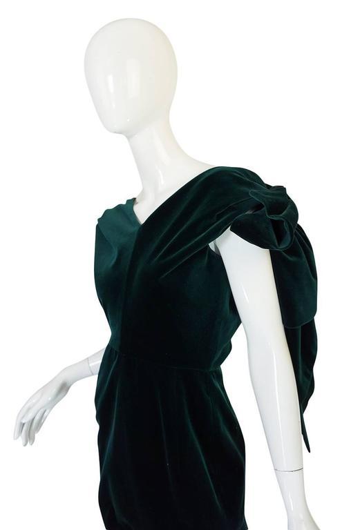 Dramatic 1980s Antony Price Bottle Green Velvet Dress 8