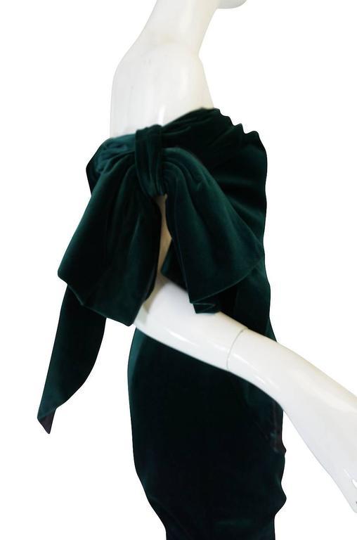 Dramatic 1980s Antony Price Bottle Green Velvet Dress 9