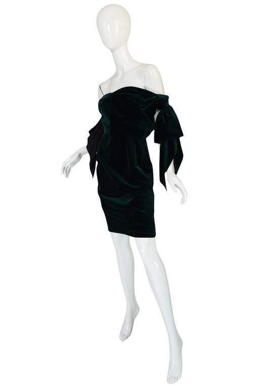 Dramatic 1980s Antony Price Bottle Green Velvet Dress 5