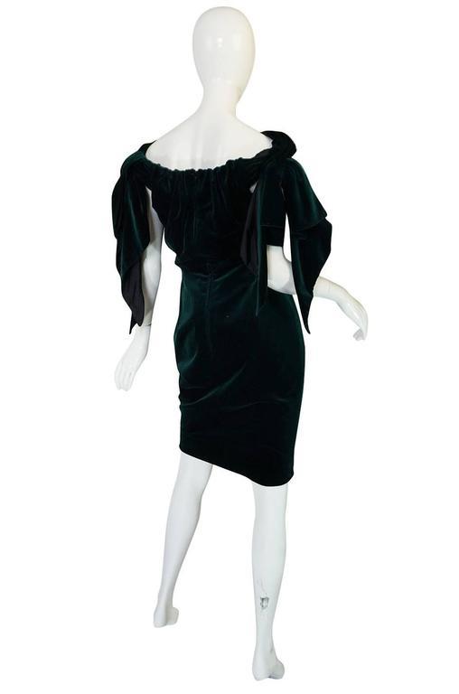 Dramatic 1980s Antony Price Bottle Green Velvet Dress 4