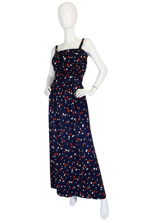 1970s Givenchy Long Jersey Floral Print Blue Dress 3
