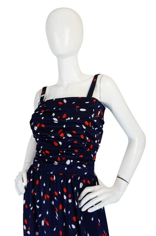 1970s Givenchy Long Jersey Floral Print Blue Dress 5