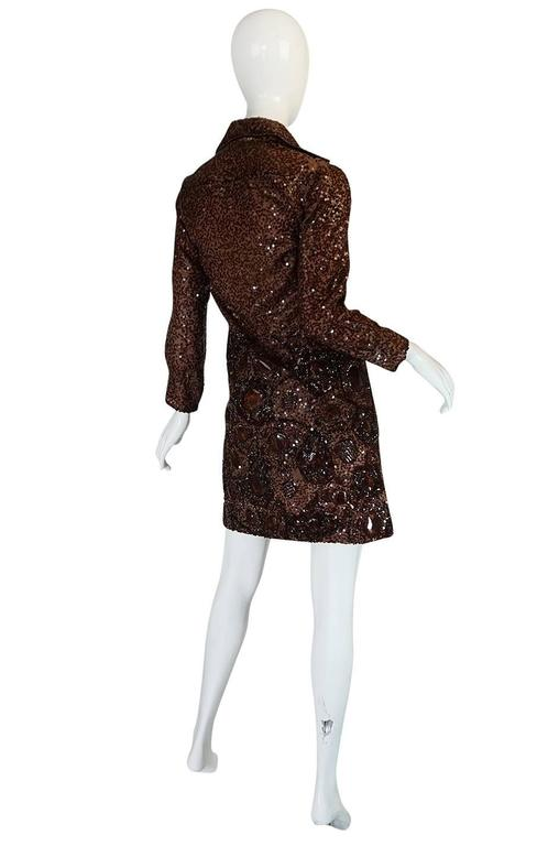 c.1966 Christian Dior Sequin & Tortoise Shell Demi-Couture Dress 2