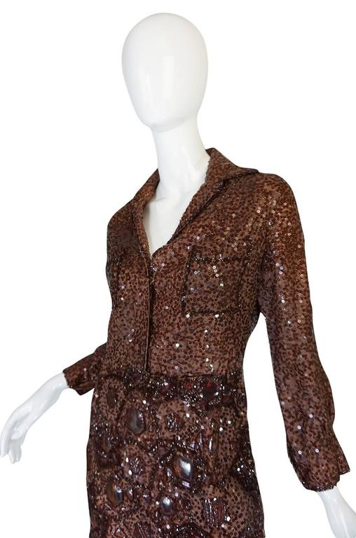 c.1966 Christian Dior Sequin & Tortoise Shell Demi-Couture Dress 4