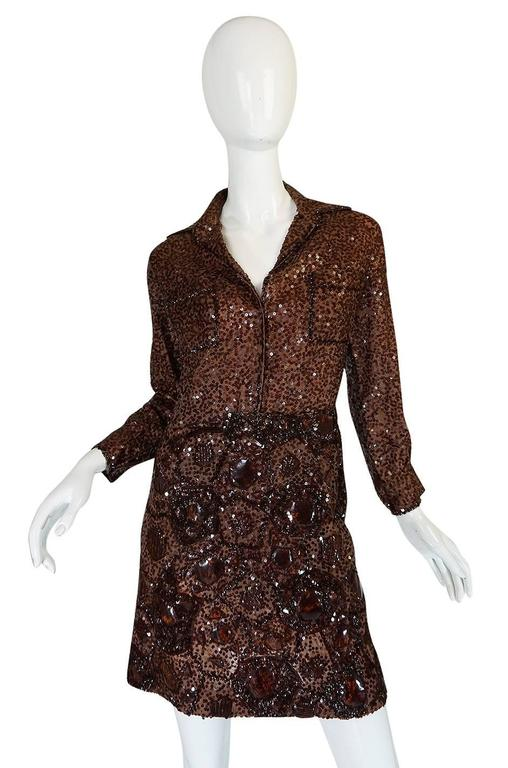 c.1966 Christian Dior Sequin & Tortoise Shell Demi-Couture Dress 3