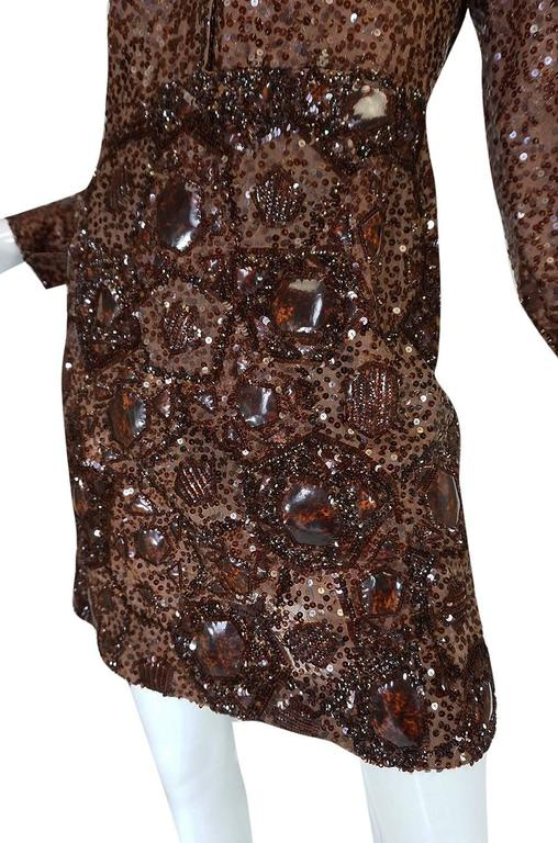 c.1966 Christian Dior Sequin & Tortoise Shell Demi-Couture Dress 8