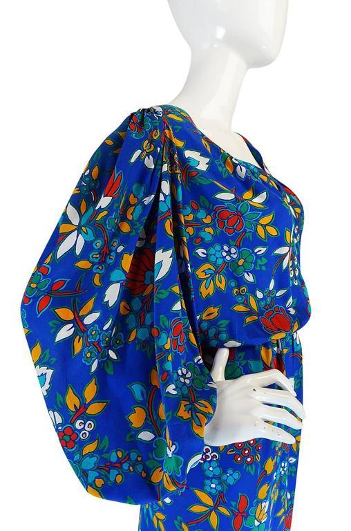 1980s Yves Saint Laurent Bright Floral Print Blue Silk Dress 6