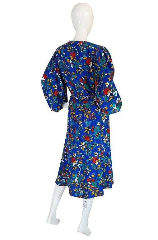 1980s Yves Saint Laurent Bright Floral Print Blue Silk Dress 2