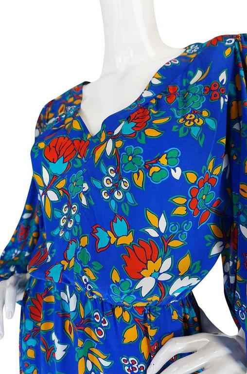 1980s Yves Saint Laurent Bright Floral Print Blue Silk Dress 7